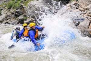 People rafting on the Arkansas River in Colorado